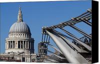 Wren Canvas Prints - St Pauls Cathedral and the Millenium Bridge  Canvas Print by David Pyatt