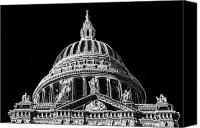 Christopher Wren Canvas Prints - St Pauls Cathedral Canvas Print by David Pyatt