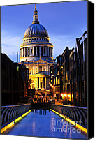 Building Canvas Prints - St. Pauls Cathedral from Millennium Bridge Canvas Print by Elena Elisseeva