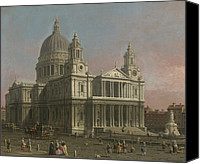Christopher Wren Canvas Prints - St. Pauls Cathedral Canvas Print by Giovanni Antonio Canaletto