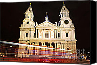 Moving Canvas Prints - St. Pauls Cathedral in London at night Canvas Print by Elena Elisseeva