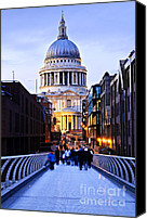 Cathedral Canvas Prints - St. Pauls Cathedral London at dusk Canvas Print by Elena Elisseeva