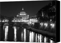 Rome Canvas Prints - St. Peters at Night Canvas Print by Donna Corless