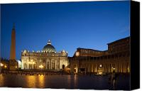 Catholic Church Canvas Prints - St. Peters Basilica at Night Canvas Print by David Smith