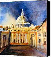 Vatican Painting Canvas Prints - St. Peters Basilica Canvas Print by Karen Stark