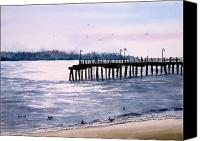 Beaches Canvas Prints - St. Simons Island Fishing Pier Canvas Print by Sam Sidders