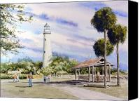 Beacon Canvas Prints - St. Simons Island Lighthouse Canvas Print by Sam Sidders