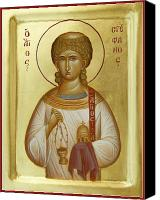 Byzantine Icon Canvas Prints - St Stephen the First Martyr and Deacon Canvas Print by Julia Bridget Hayes