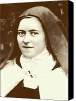 Flower Photograph Canvas Prints - St. Therese of Lisieux - The Little Flower Canvas Print by Christi Studio