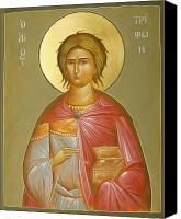 Icon Byzantine Canvas Prints - St Tryphon Canvas Print by Julia Bridget Hayes