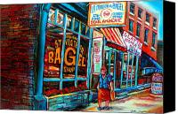 Judaica Canvas Prints - St. Viateur Bagel Bakery Canvas Print by Carole Spandau