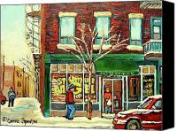 Transform Painting Canvas Prints - St Viateur Bagel Shop Montreal Canvas Print by Carole Spandau
