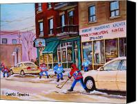Hockey In Montreal Painting Canvas Prints - St. Viateur Bagel with boys playing hockey Canvas Print by Carole Spandau