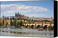 Charles Bridge Canvas Prints - St Vitus Cathedral & The Charles Bridge, Prague Canvas Print by Douglas Pearson