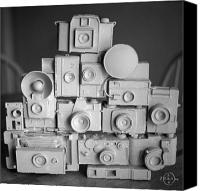 Gary Peterson Canvas Prints - Stack o Cameras Canvas Print by Gary Peterson