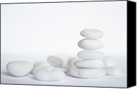 Stack Canvas Prints - Stack Of White Pebbles On White Background Canvas Print by Gil Guelfucci