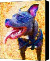 Terrier Canvas Prints - Staffordshire Bull Terrier in Oil Canvas Print by Michael Tompsett