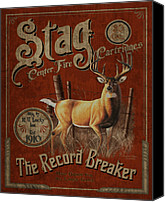 Antique Painting Canvas Prints - Stag Record Breaker Sign Canvas Print by JQ Licensing