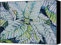 Stain Glass Digital Art Canvas Prints - Stain Glass Poinsettia Canvas Print by Mindy Newman
