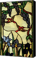 Coloured Glass Glass Art Canvas Prints - Stained Glass Humming Bird Vertical Window Canvas Print by Thomas Woolworth