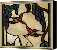 Coloured Glass Glass Art Canvas Prints - Stained Glass Humming Bird Window Canvas Print by Thomas Woolworth