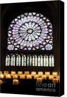 Travel Destination Canvas Prints - Stained glass window of Notre Dame de Paris. France Canvas Print by Bernard Jaubert