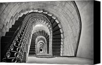 Spiral Staircase Canvas Prints - Staircase Perspective Canvas Print by George Oze