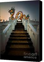 Castle Pyrography Canvas Prints - Stairway to the Dragon. Canvas Print by Phaitoon Chooti