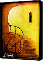 Iron Pastels Canvas Prints - Stairwell Canvas Print by Lee Halbrook