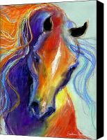 Horse Drawings Canvas Prints - Stallion Horse painting Canvas Print by Svetlana Novikova