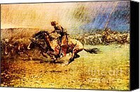 Remington Canvas Prints - Stampede Canvas Print by Frederic Remington