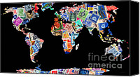 Map Art Canvas Prints - Stamps of The World Map . v1 Canvas Print by Wingsdomain Art and Photography