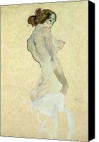 Exposed Canvas Prints - Standing Female Nude Canvas Print by Egon Schiele 