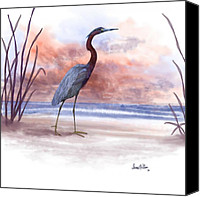 Beach Scenes Digital Art Canvas Prints - Standing Tall Canvas Print by Sena Wilson