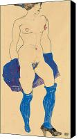 Nudes Canvas Prints - Standing woman with shoes and stockings Canvas Print by Egon Schiele