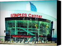 Los Angeles Lakers Canvas Prints - Staples Center Color Canvas Print by Ariane Moshayedi