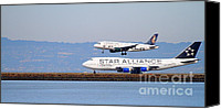 Airways Canvas Prints - Star Alliance Airlines And Frontier Airlines Jet Airplanes At San Francisco Airport . Long Cut Canvas Print by Wingsdomain Art and Photography