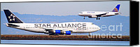 Airways Canvas Prints - Star Alliance Airlines And United Airlines Jet Airplanes At San Francisco Airport SFO . Long Cut Canvas Print by Wingsdomain Art and Photography