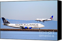 Airways Canvas Prints - Star Alliance Airlines And United Airlines Jet Airplanes At San Francisco International Airport SFO  Canvas Print by Wingsdomain Art and Photography