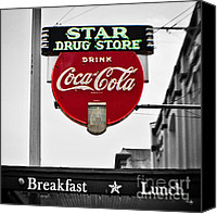 Tx Canvas Prints - Star Drug Store Canvas Print by Scott Pellegrin