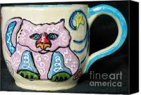 Wheel Thrown Canvas Prints - Star Kitty Mug Canvas Print by Joyce Jackson