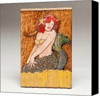 Folk Art Woodcarving Reliefs Canvas Prints - Star Mermaid Canvas Print by James Neill
