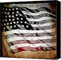Stripes Mixed Media Canvas Prints - Star Spangled Banner Canvas Print by Angelina Vick