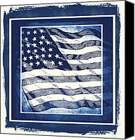 Patriotism Mixed Media Canvas Prints - Star Spangled Banner Blue Canvas Print by Angelina Vick