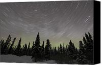 Polar Aurora Canvas Prints - Star Trails, Milky Way And Green Aurora Canvas Print by Yuichi Takasaka