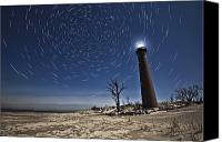Light House Canvas Prints - Star Trails over Little Sable Lighthouse Canvas Print by Joe Gee