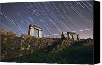 Capella Canvas Prints - Star Trails Over Rock Structures Canvas Print by Miguel Claro