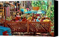 Montreal Street Life Canvas Prints - Starbucks Cafe On Monkland Montreal Cityscene Canvas Print by Carole Spandau