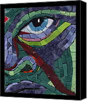 Unique Glass Art Canvas Prints - Stare Down - Fantasy Face No.14 Canvas Print by Gila Rayberg
