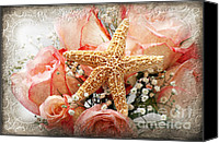 Closeup Mixed Media Canvas Prints - Starfish And Pink Roses Canvas Print by Andee Photography